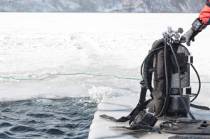 SCUBA equipment on the ice.